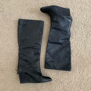 Steven Black Leather Maryn Wedge Boots